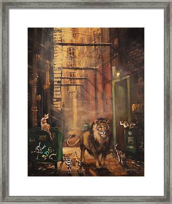 Milwaukee Lion Framed Print by Tom Shropshire