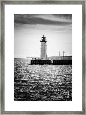 Milwaukee Pierhead Lighthouse Photo In Black And White Framed Print by Paul Velgos
