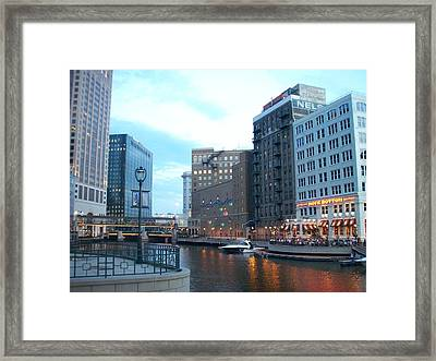 Milwaukee River Walk Framed Print by Anita Burgermeister