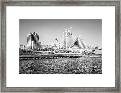 Milwaukee Skyline Photo In Black And White Framed Print by Paul Velgos