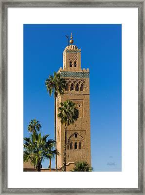 Minaret Of The Koutoubia Mosque, Marrakesh Framed Print by Nico Tondini