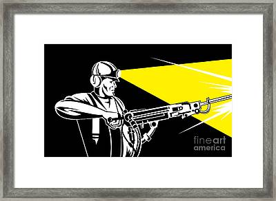 Miner With Jack Leg Drill Framed Print by Aloysius Patrimonio