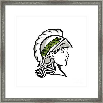 Minerva Head Side Profile Retro Framed Print by Aloysius Patrimonio