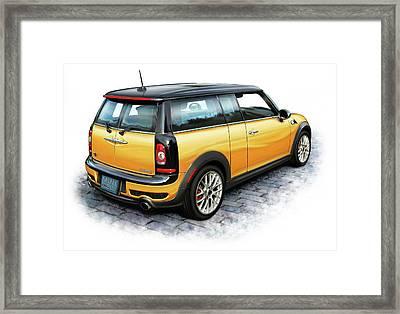 Mini Cooper Clubman Yellow Framed Print by David Kyte