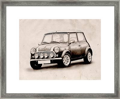 Mini Cooper Sketch Framed Print by Michael Tompsett