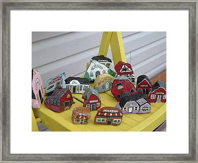 Mini Houses On A Chair Framed Print by Barbara Griffin