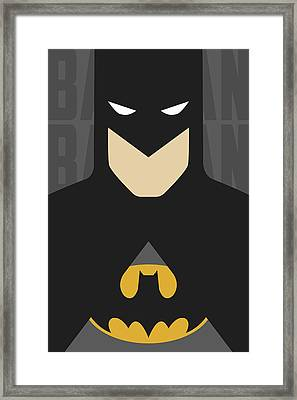 Minimal Batman 1 Framed Print by Manny Jasus