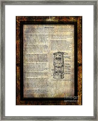 Mining Lamps Framed Print by Adrian Evans