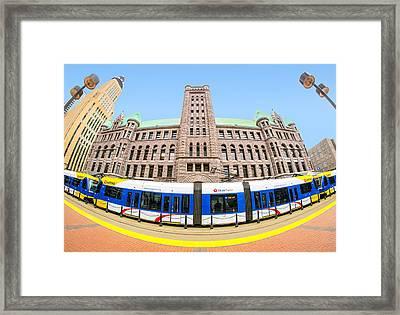 Minneapolis City Hall And Blue Line Rail Framed Print by Jim Hughes