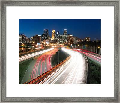 Minneapolis Traffic Flow Framed Print by Jim Hughes