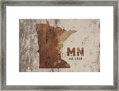 Minnesota State Map Industrial Rusted Metal On Cement Wall With Founding Date Series 036 Framed Print by Design Turnpike