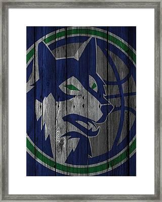 Minnesota Timberwolves Wood Fence Framed Print by Joe Hamilton