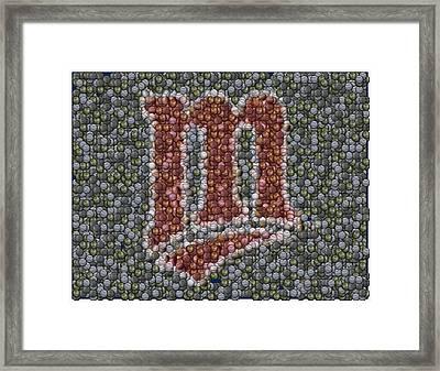 Minnesota Twins Baseball Mosaic Framed Print by Paul Van Scott
