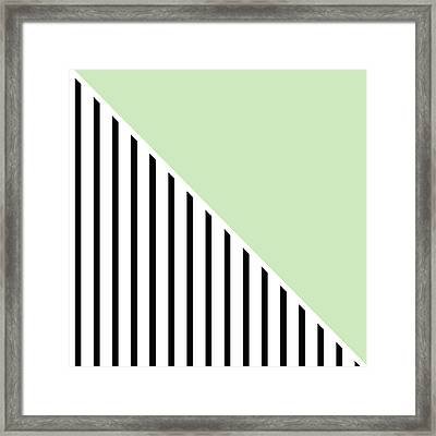Mint And Black Geometric Framed Print by Linda Woods