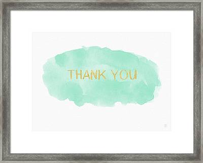 Mint And Gold Watercolor Thank You- Art By Linda Woods Framed Print by Linda Woods