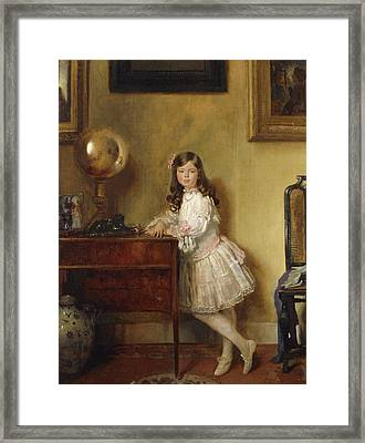 Miss Annie Harmsworth In An Interior Framed Print by Sir William Orpen