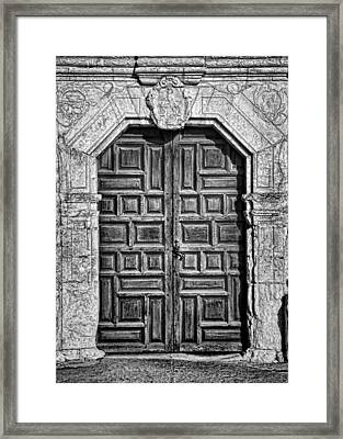 Mission Concepcion Doors - Bw Framed Print by Stephen Stookey