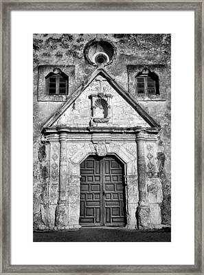Mission Concepcion Entrance - Bw Framed Print by Stephen Stookey
