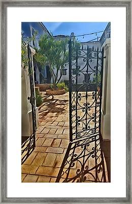 Mission Courtyard Framed Print by Karyn Robinson