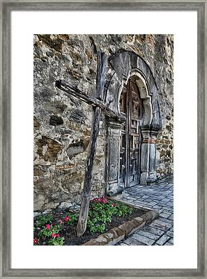 Mission Espada Cross And Door Framed Print by Stephen Stookey