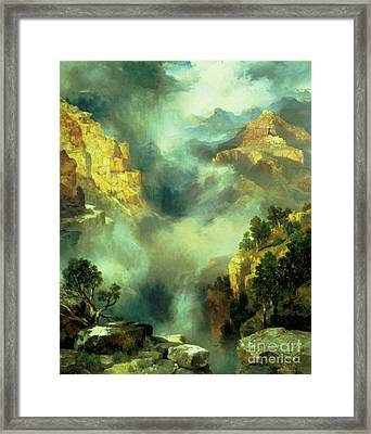 Mist In The Canyon Framed Print by Thomas Moran