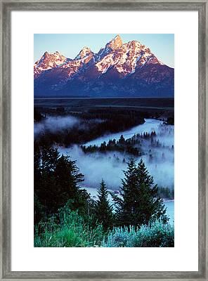Mist Over Snake River, Sunrise Light Framed Print by Panoramic Images