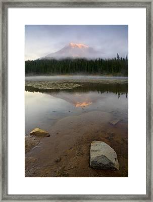 Misty Alpenglow Framed Print by Mike  Dawson