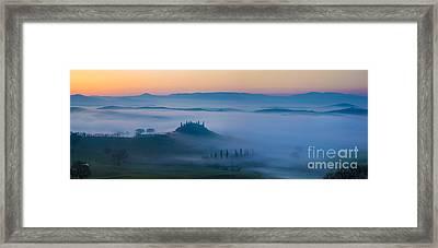 Misty Dawn In Tuscany Framed Print by Brian Jannsen