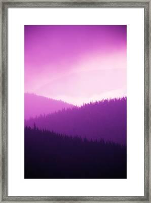 Misty Morning Mountains - Magenta Framed Print by Paul W Sharpe Aka Wizard of Wonders