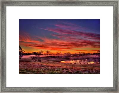 Misty Morning Other Worldly Sunrise Framed Print by Reid Callaway