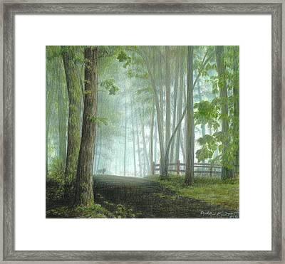 Misty Morning Visitor Framed Print by Carla Kurt