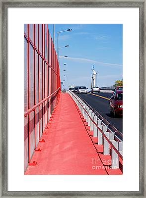 Mitigating Noise Barrier Or Soundwall On Roadway  Framed Print by Arletta Cwalina
