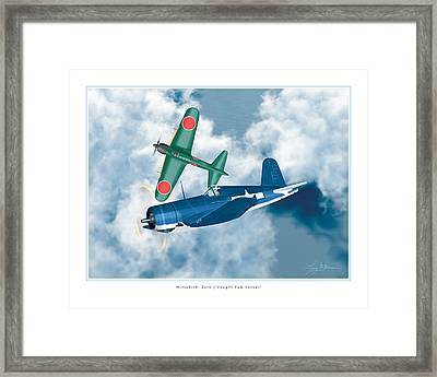 Mitsubishi Zero And Vought F4-u Corsair Framed Print by Larry McManus