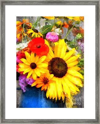 Mixed Bouquet Framed Print by Helene Guertin