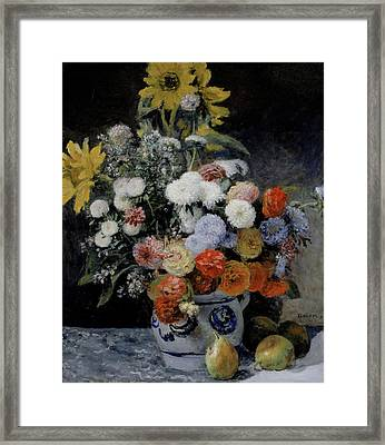 Mixed Flowers In An Earthenware Pot Framed Print by Auguste Renoir