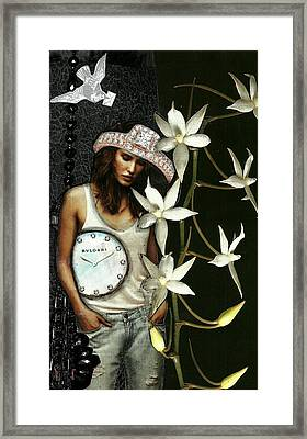 Mixed Media Collage Lost In Thought Framed Print by Lisa Noneman