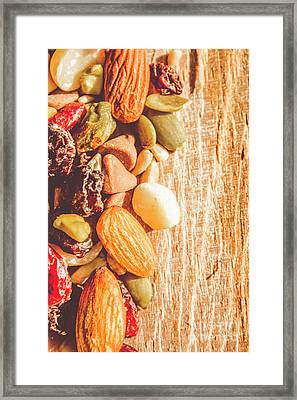 Mixed Nuts On Wooden Background Framed Print by Jorgo Photography - Wall Art Gallery