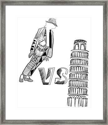 Mj Vs Pisa Framed Print by Serkes Panda