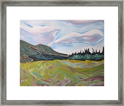 Mnt St-joseph On A Yellow Field  Framed Print by Francois Fournier