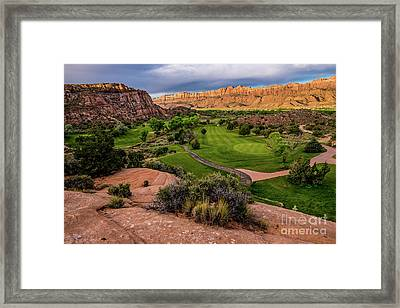 Moab Desert Canyon Golf Course At Sunrise Framed Print by Gary Whitton