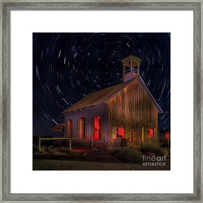 Moab Schoolhouse Star Trails Framed Print by Jerry Fornarotto