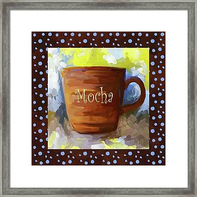 Mocha Coffee Cup With Blue Dots Framed Print by Jai Johnson