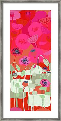 Mod Red Poppies Framed Print by CR Leyland