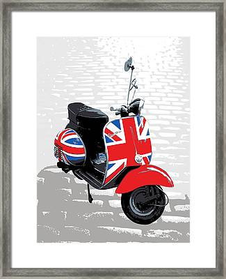 Mod Scooter Pop Art Framed Print by Michael Tompsett
