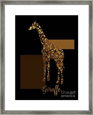 Modern Gilt Giraffe, Gold Black Brown Framed Print by Tina Lavoie