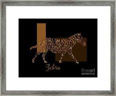 Modern Golden Zebra, Gold Black Brown Framed Print by Tina Lavoie