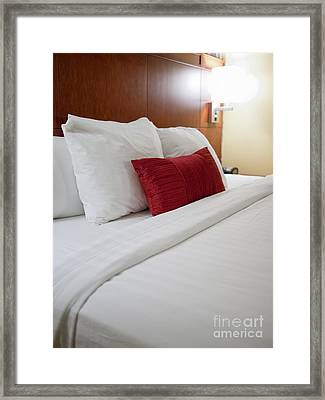 Modern Hotel Room Bed Framed Print by Paul Velgos