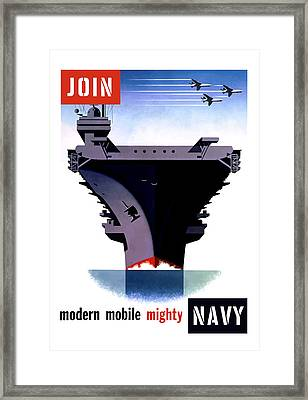 Modern Mobile Mighty Navy Framed Print by War Is Hell Store