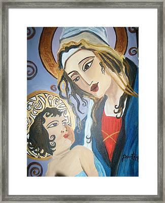 Modern Mother And Child Framed Print by Demetria Kelley