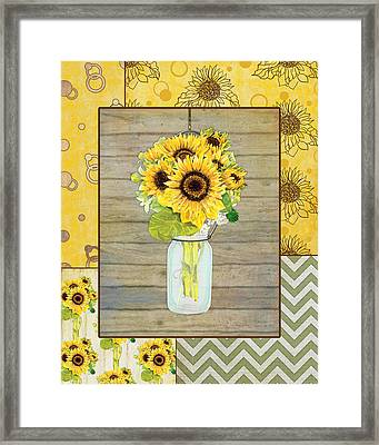 Modern Rustic Country Sunflowers In Mason Jar Framed Print by Audrey Jeanne Roberts